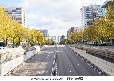 Dual carriageway with six lanes - stock photo