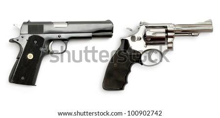 Dual Gun on white background - stock photo