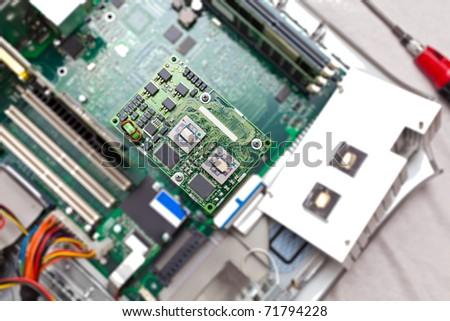 Dual processor card of a professional grade workstation - stock photo