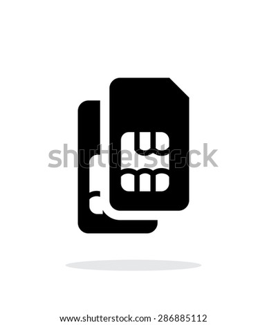 Dual SIM cards simple icon on white background. - stock photo