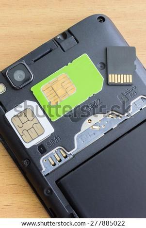dual slot and dual SIM cards - stock photo