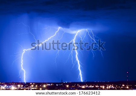 Dual Threat: Lightning - stock photo