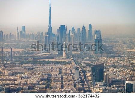 Dubai aerial skyine, UAE. - stock photo