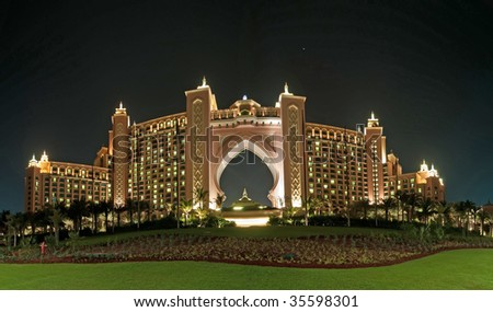 Dubai Atlantis Hotel Panorama - stock photo