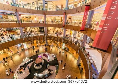 Dubai - AUGUST 7, 2014: Dubal Mall shopping mall on August 7 in  - stock photo