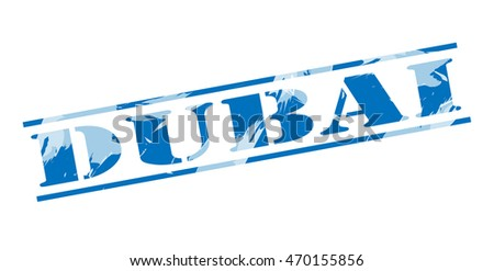 dubai blue stamp on white background