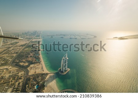 DUBAI - CIRCA MAY 2014: Top view on the most expensive  hotel  Burj Al Arab in Dubai, UAE in CIRCA MAY 2014. - stock photo