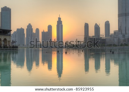 Dubai city at sunset - stock photo