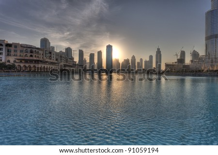 Dubai city at sunset