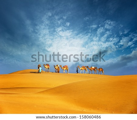 Dubai desert camel safari landscape  - stock photo