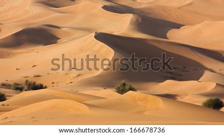 Dubai desert with beautiful sandunes - stock photo