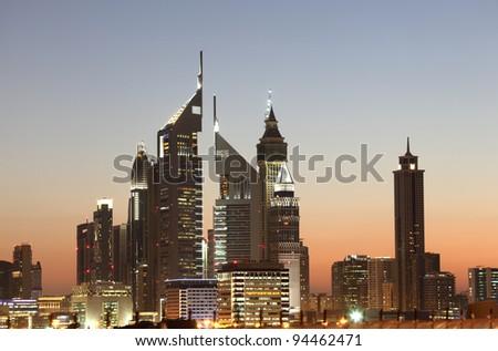 Dubai Downtown Skyline at night - stock photo