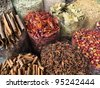 Dubai - dried herbs flowers spices in the street shop - stock photo