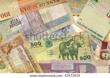 Dubai, Emirates, Malaysia, Indonesia, Tanzania curreny money background - stock photo