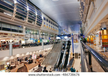 DUBAI INTERNATIONAL AIRPORT, DUBAI-OCTOBER 27: Dubai International Airport with glorious duty free section on October 27, 2013. Dubai International is one of the fastest growing major hubs