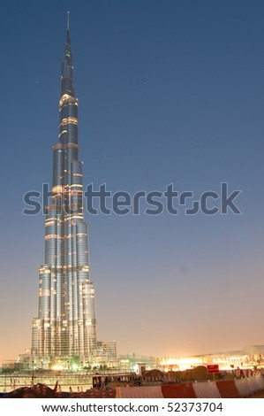 DUBAI - MARCH 31: Burj Khalifa is the tallest building in the world reaching over 800 meters, 31 march 2010 in dubai, UAE