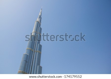 DUBAI- MARCH 21, 2013: Full view of Burj Khalifa tower taken on March 21, 2013 in Dubai, United Arab Emirates. - stock photo