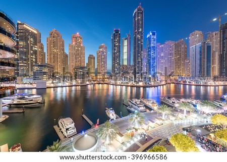 Dubai - MARCH 26, 2016: Marina district on March 26 in UAE, Dubai. Marina district is popular residential area in Dubai - stock photo
