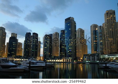 Dubai Marina at dusk, United Arab Emirates