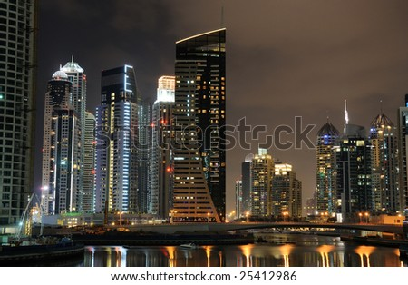 Dubai Marina at night, United Arab Emirates - stock photo