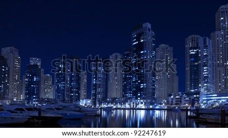 Dubai Marina at night. Yacht club - stock photo