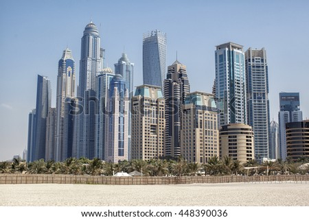 Dubai Marina by day. the beach and the skyscrapers of Dubai.  - stock photo