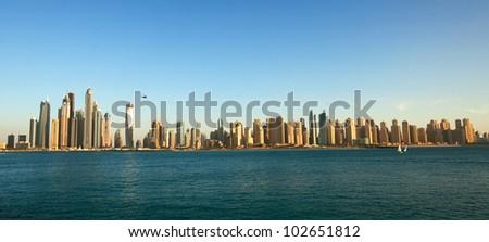 Dubai Marina cityscape, UAE. Panoramic view - stock photo