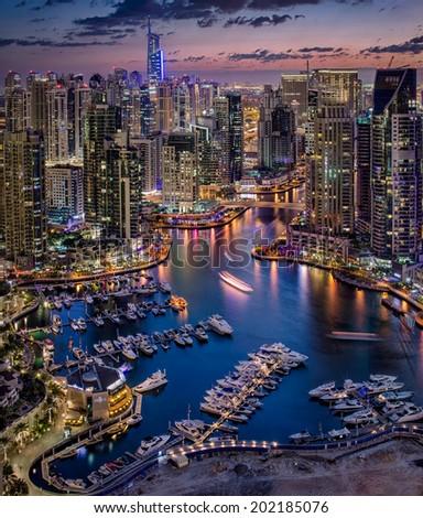 Dubai Marina From The Top - stock photo