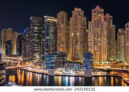 Dubai Marina illuminated at night, United Arab Emirates, Middle East - stock photo