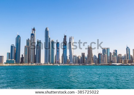 Dubai Marina in a summer day, UAE - stock photo