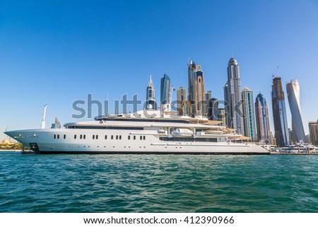 Dubai Marina in a summer day, United Arab Emirates - stock photo