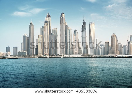 Dubai Marina in sunset time, United Arab Emirates - stock photo