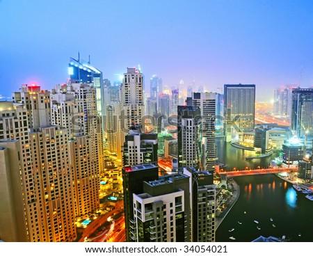 Dubai Marina Night Scene - stock photo