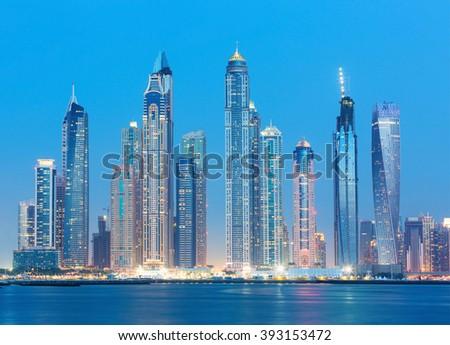 Dubai Marina skyscrapers and Jumeirah beach,Dubai,United Arab Emirates - stock photo