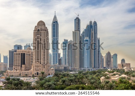 Dubai Marina Skyscrapers. Dubai, United Arab Emirates - stock photo