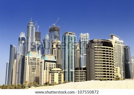 Dubai Marina, United Arab Emriates, Dubai city - stock photo