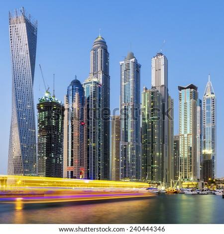 Dubai Marina with boat light, UAE - stock photo