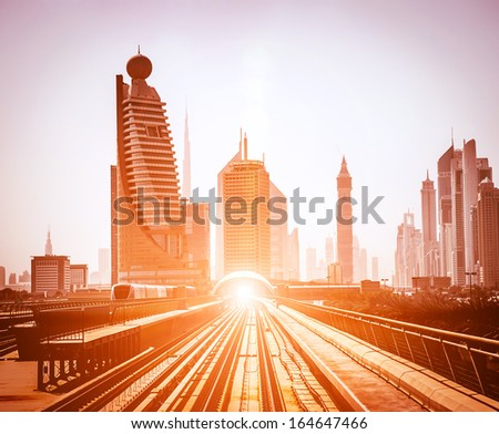 Dubai Metro. Evening view of the city. UAE - stock photo