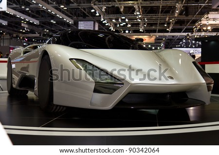 DUBAI - NOVEMBER 10: The SSC Tuatara on show at the Dubai Motor Show at the Dubai International Convention and Exhibition Centre, November 10, 2011 in Dubai, UAE