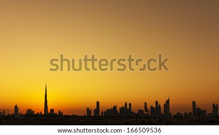 Dubai silhouette skyline - stock photo