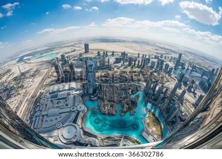 Dubai skyline and skyscrapers. - stock photo
