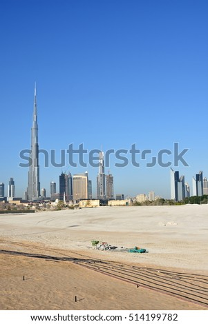 Dubai skyline at night from Business Bay Al Khail road,Dubai,  United Arab Emirates