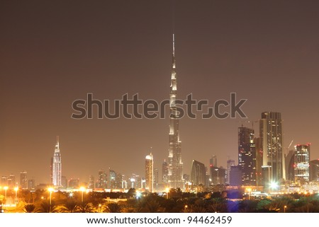 Dubai skyline at night, United Arab Emirates - stock photo