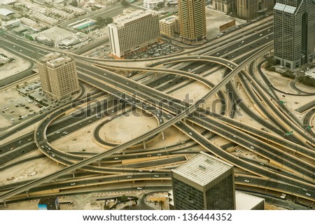 Dubai, UAE. Aerial view from the height of Burj Khalifa - stock photo
