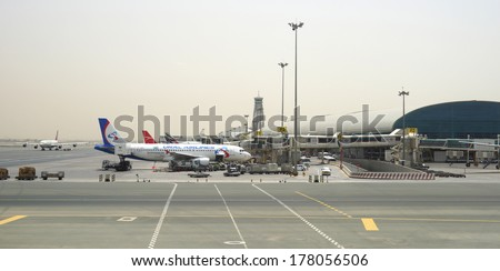 DUBAI, UAE - APRIL 23: Dubai Airport on April 23, 2013 in Dubai, UAE. Emirates handles major part of passenger traffic and aircraft movements at the airport.
