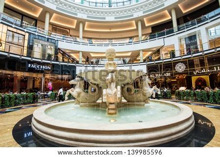 DUBAI, UAE - APRIL 29: Mall of the Emirates interior April 29, 2013 in Dubai, United Arab Emirates. Mall of the Emirates is a shopping mall in the Al Barsha district of Dubai. - stock photo