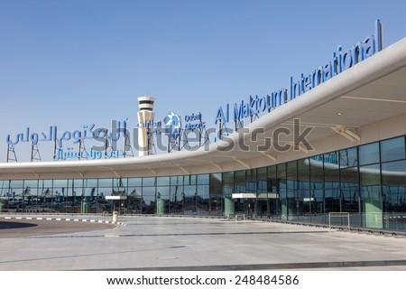 DUBAI, UAE - DEC 13: Al Maktoum International Airport in Dubai. December 13, 2014 in Dubai, United Arab Emirates - stock photo