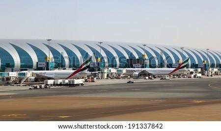 DUBAI, UAE - DEC 30: Dubai International Airport. December 30, 2013 in Dubai, United Arab Emirates - stock photo