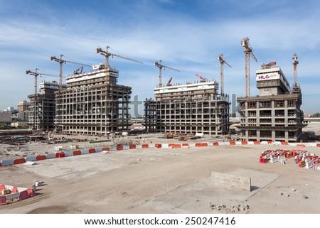 DUBAI, UAE - DEC 16: The Dubai Pearl construction site. December 16, 2014 in Dubai, United Arab Emirates - stock photo