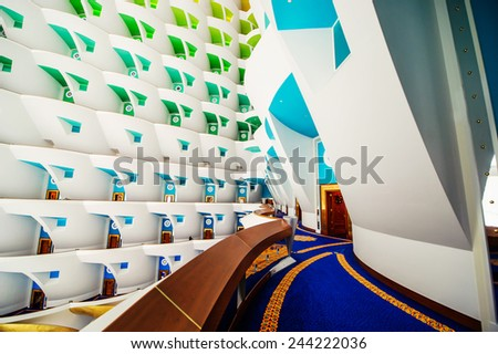 DUBAI, UAE - DECEMBER 25: Burj Al Arab, built on an artificial island on Jumeirah beach and classed as one of the most luxurious in the world, on December 25, 2014